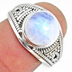 4.68cts natural rainbow moonstone 925 silver solitaire ring size 7.5 r68938