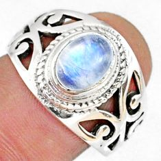 2.25cts natural rainbow moonstone 925 silver solitaire ring size 7.5 r68939