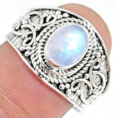 2.13cts natural rainbow moonstone 925 silver solitaire ring size 8.5 r69161