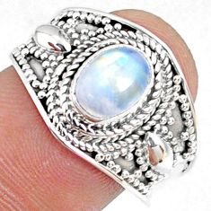 2.13cts natural rainbow moonstone 925 silver solitaire ring size 8.5 r69162