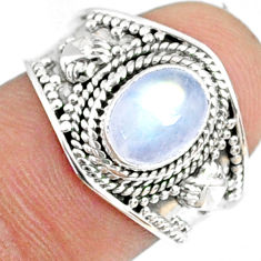 1.99cts natural rainbow moonstone 925 silver solitaire ring size 7.5 r69178