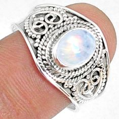 2.00cts natural rainbow moonstone 925 silver solitaire ring size 7.5 r69180