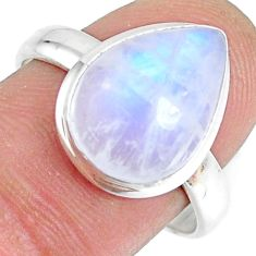 6.54cts natural rainbow moonstone silver solitaire handmade ring size 8.5 r74063