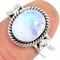 5.36cts natural rainbow moonstone 925 silver solitaire ring size 9.5 r76334