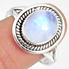 5.13cts natural rainbow moonstone 925 silver solitaire ring size 9.5 r76354
