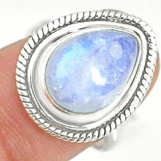 5.38cts natural rainbow moonstone 925 silver solitaire ring size 6.5 r76787