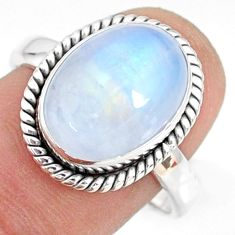 5.53cts natural rainbow moonstone 925 silver solitaire ring size 8.5 r76959