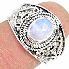 2.17cts natural rainbow moonstone 925 silver solitaire ring size 7.5 r81464