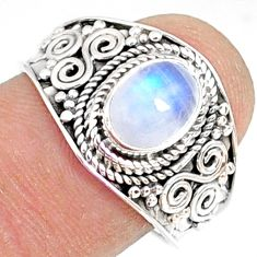 2.11cts natural rainbow moonstone 925 silver solitaire ring size 8.5 r81467