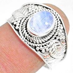 2.17cts natural rainbow moonstone 925 silver solitaire ring size 7.5 r81470