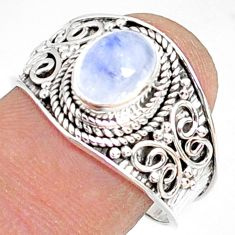 2.18cts natural rainbow moonstone 925 silver solitaire ring size 8.5 r81471