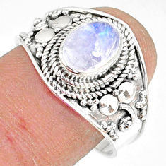 1.96cts natural rainbow moonstone 925 silver solitaire ring size 8.5 r81473