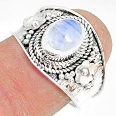 2.19cts natural rainbow moonstone 925 silver solitaire ring size 7.5 r81474
