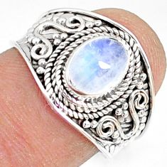 2.21cts natural rainbow moonstone 925 silver solitaire ring size 7.5 r81477