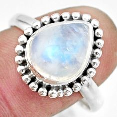 4.94cts natural rainbow moonstone 925 silver solitaire ring size 10 r26598