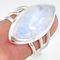 14.23cts natural rainbow moonstone 925 silver solitaire ring size 6 r37752