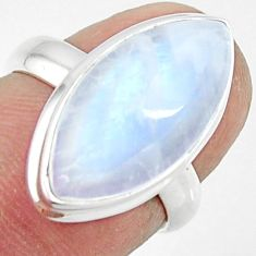 8.26cts natural rainbow moonstone 925 silver solitaire ring size 6 r47361