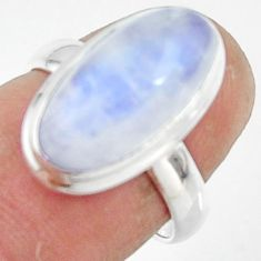 6.33cts natural rainbow moonstone 925 silver solitaire ring size 6 r47362