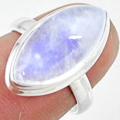 8.74cts natural rainbow moonstone 925 silver solitaire ring size 6 r47365