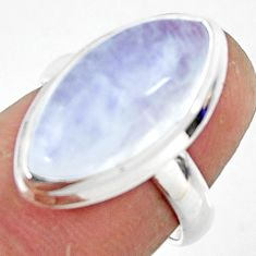 8.10cts natural rainbow moonstone 925 silver solitaire ring size 6 r47367
