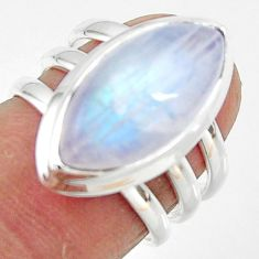 8.50cts natural rainbow moonstone 925 silver solitaire ring size 6 r47410