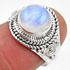 4.42cts natural rainbow moonstone 925 silver solitaire ring size 6 r53282