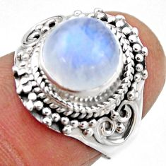 4.70cts natural rainbow moonstone 925 silver solitaire ring size 6 r53291