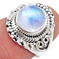 4.69cts natural rainbow moonstone 925 silver solitaire ring size 6 r53295