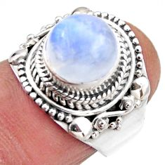 4.65cts natural rainbow moonstone 925 silver solitaire ring size 6 r53296