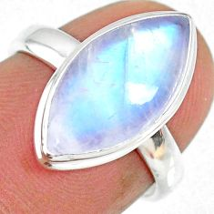 8.12cts natural rainbow moonstone 925 silver solitaire ring size 6 r63742