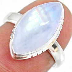 7.24cts natural rainbow moonstone 925 silver solitaire ring size 6 r63744