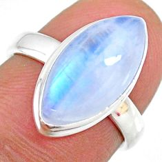 7.21cts natural rainbow moonstone 925 silver solitaire ring size 6 r63758