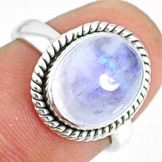 5.11cts natural rainbow moonstone 925 silver solitaire ring size 6 r76373