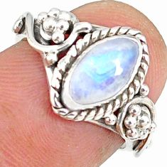 2.44cts natural rainbow moonstone 925 silver solitaire ring size 6 r82150