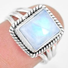 4.22cts natural rainbow moonstone 925 silver solitaire ring size 6 r83281