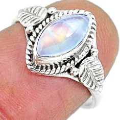 2.42cts natural rainbow moonstone 925 silver solitaire ring size 6 r92610
