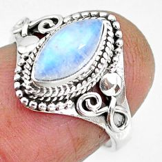 2.53cts natural rainbow moonstone 925 silver solitaire ring size 6 r92614