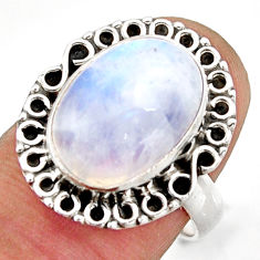 6.31cts natural rainbow moonstone 925 silver solitaire ring size 7 d46235