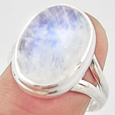 10.73cts natural rainbow moonstone 925 silver solitaire ring size 7 r21462