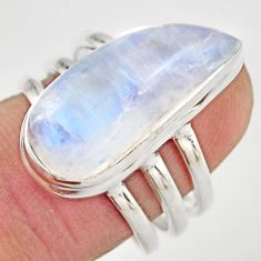 11.48cts natural rainbow moonstone 925 silver solitaire ring size 7 r21492
