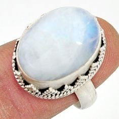 10.44cts natural rainbow moonstone 925 silver solitaire ring size 7 r22310