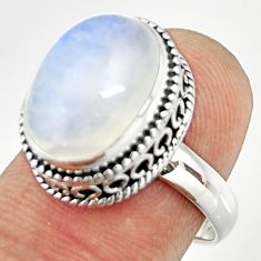 6.63cts natural rainbow moonstone 925 silver solitaire ring size 7 r26316