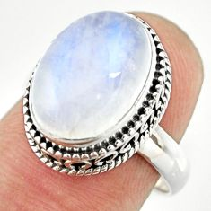 6.48cts natural rainbow moonstone 925 silver solitaire ring size 7 r26317