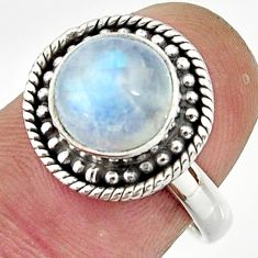4.88cts natural rainbow moonstone 925 silver solitaire ring size 7 r26616