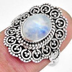 3.23cts natural rainbow moonstone 925 silver solitaire ring size 7 r26938