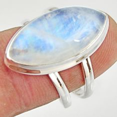 11.44cts natural rainbow moonstone 925 silver solitaire ring size 7 r27040
