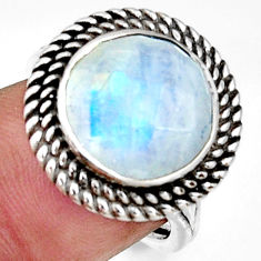 6.57cts natural rainbow moonstone 925 silver solitaire ring size 7 r33392