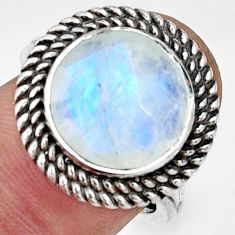 6.79cts natural rainbow moonstone 925 silver solitaire ring size 7 r33394