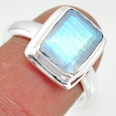 4.30cts natural rainbow moonstone 925 silver solitaire ring size 7 r34179