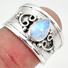 2.12cts natural rainbow moonstone 925 silver solitaire ring size 7 r34479